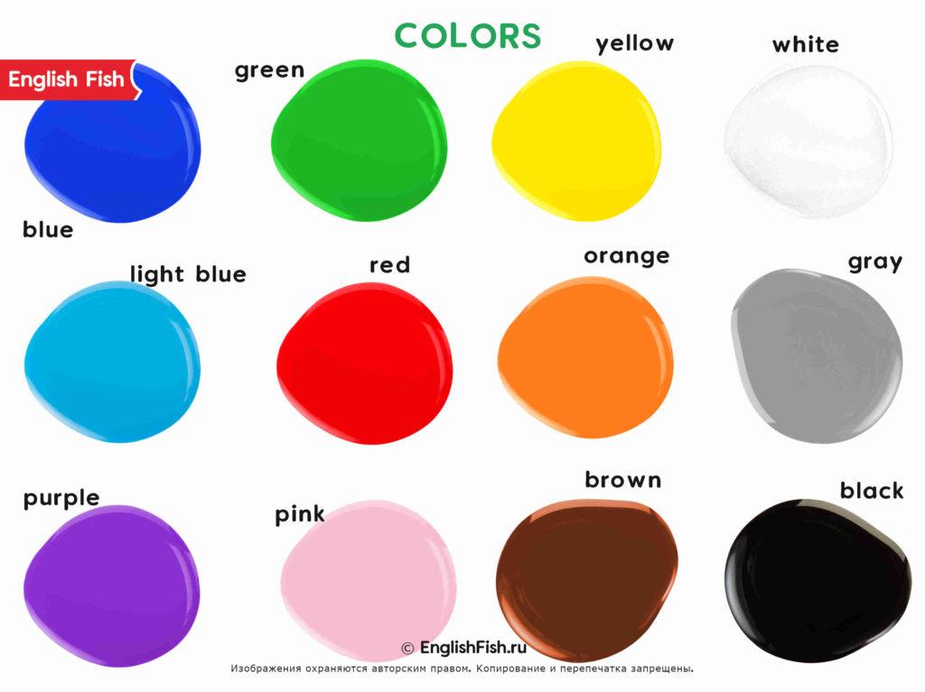 Цвета на английском для детей Colors