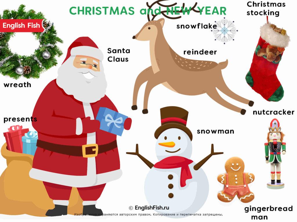 Новый Год и Рождество на английском для детей в картинках